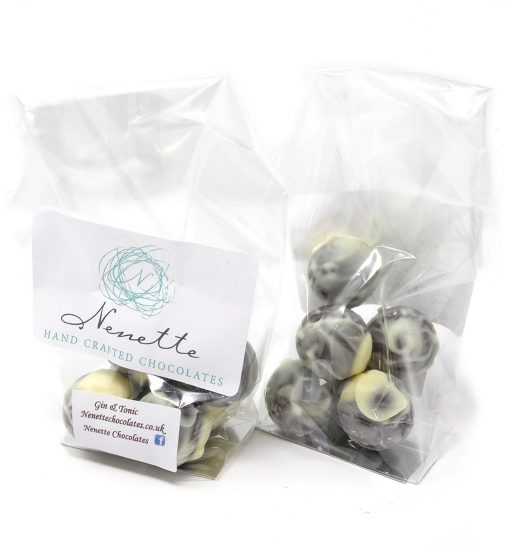 handmade gin and tonic truffles in a bag