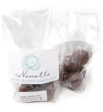 handmade ginger salted caramel truffles in a bag
